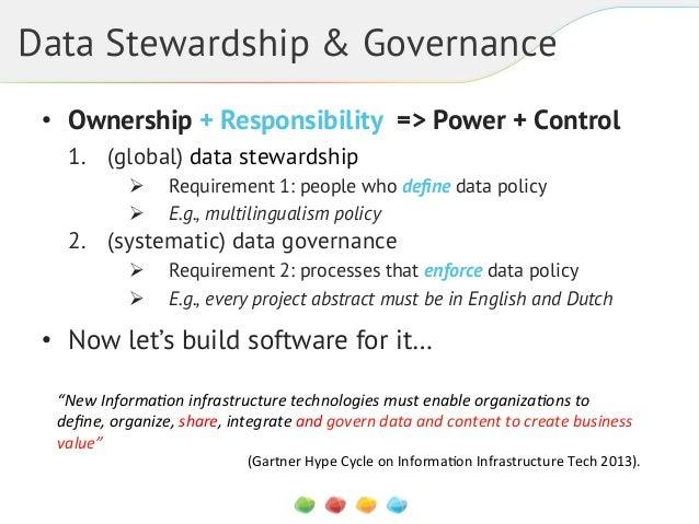 Data Stewardship & Governance • Ownership + Responsibility => Power + Control 1. (global) data stewardship ! !  Requir...