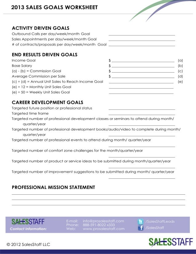 b2b sales goals worksheet