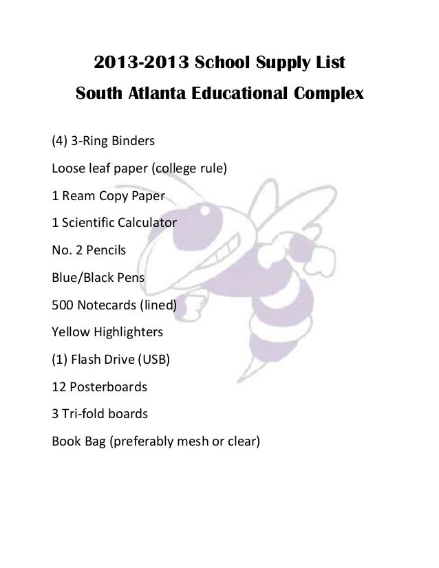 School Supplies List 9th Grade