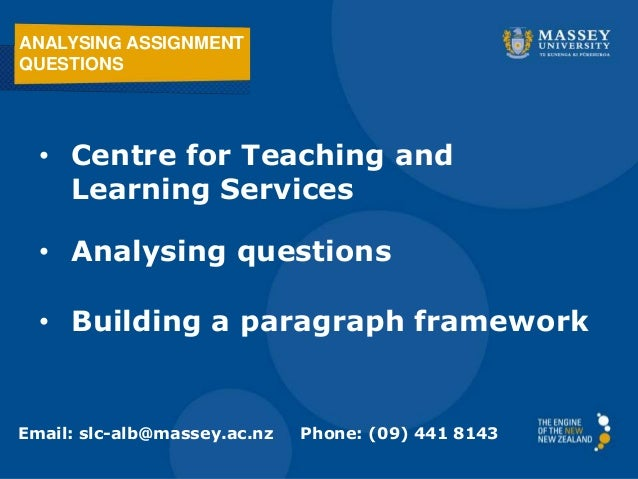 ANALYSING ASSIGNMENTQUESTIONS  • Centre for Teaching and    Learning Services  • Analysing questions  • Building a paragra...