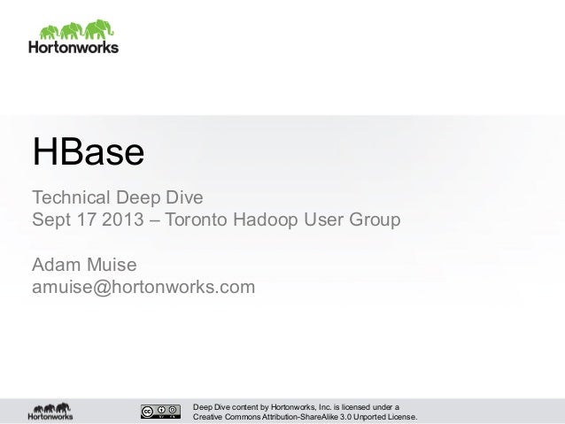Deep Dive content by Hortonworks, Inc. is licensed under a Creative Commons Attribution-ShareAlike 3.0 Unported License. H...