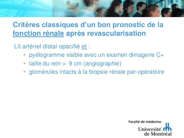 Critères classiques d'un bon pronostic de lafonction rénale après revascularisationLit artériel distal opacifié et :• pyél...