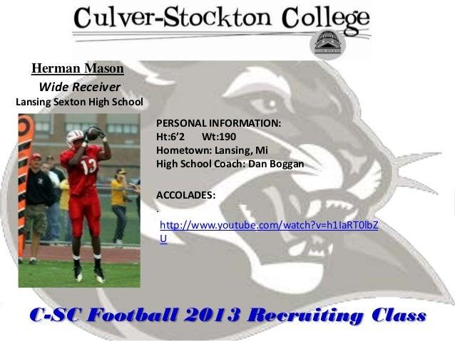 Herman Mason    Wide ReceiverLansing Sexton High School                             PERSONAL INFORMATION:                 ...