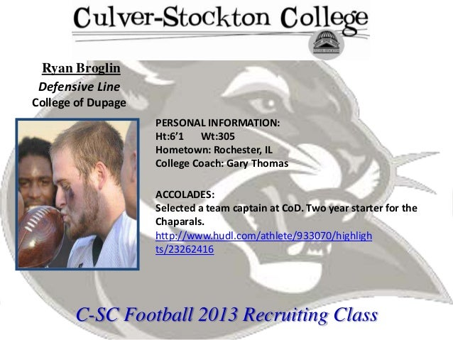 2013 Culver-Stockton Football Signing Class