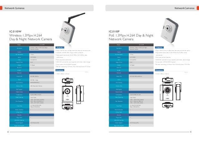 Network Cameras  Network Cameras  IC-3100W  Wireless 1.3Mpx H.264 Network Camera Model Description  IC-3100P  PoE 1.3Mpx H...