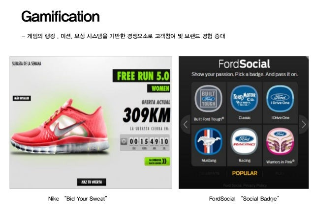 "Gamification- 게임의 랭킹 , 미션, 보상 시스템을 기반한 경쟁요소로 고객참여 및 브랜드 경험 증대      Nike ""Bid Your Sweat""                  FordSocial ""Soci..."