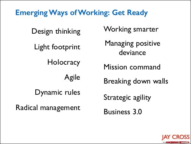 Emerging Ways of Working: Get Ready Design thinking Light footprint Holocracy Agile Dynamic rules Radical management  Work...