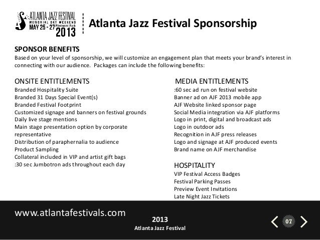 atlanta jazz festival 2013 sponsorship brief, Presentation templates