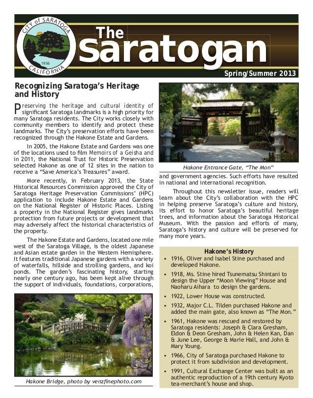 CITY of SARATO GACA LI F O R NIA 1956 SaratoganSaratogan The Spring/Summer 2013 Preserving the heritage and cultural ident...