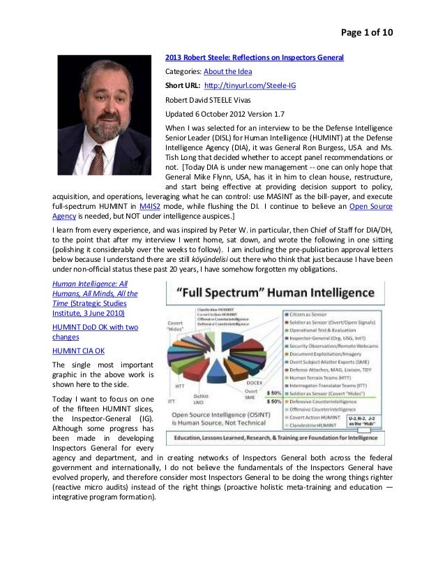 Page 1 of 10                                   2013 Robert Steele: Reflections on Inspectors General                      ...