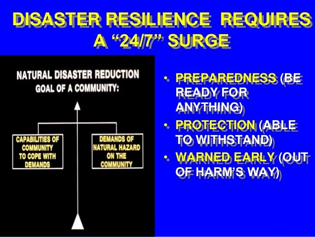 """DISASTER RESILIENCE REQUIRES       A """"24/7"""" SURGE              • PREPAREDNESS (BE                READY FOR                ..."""