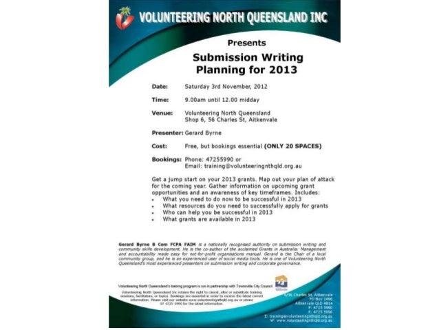 2013 Submission Workshop Volunteering North Queensland