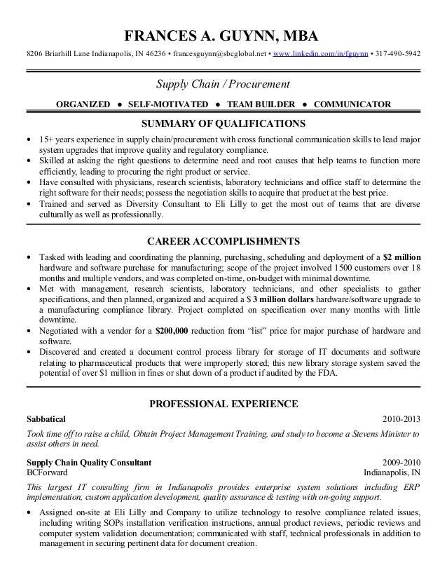 2013 supply chain procurement resume