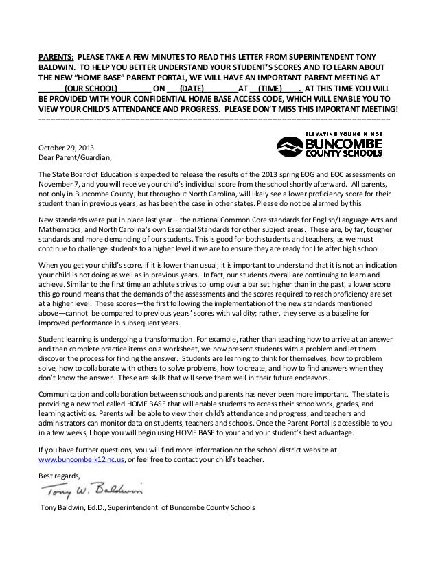 PARENTS: PLEASE TAKE A FEW MINUTES TO READ THIS LETTER FROM SUPERINTENDENT TONY BALDWIN. TO HELP YOU BETTER UNDERSTAND YOU...