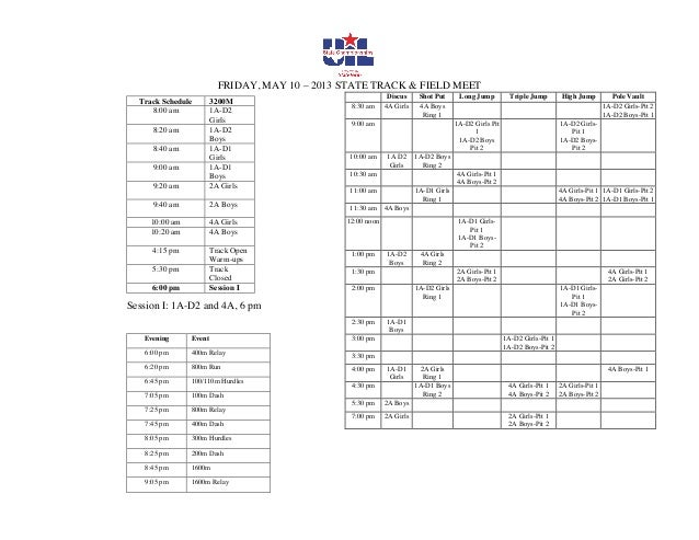 FRIDAY, MAY 10 – 2013 STATE TRACK & FIELD MEETSession I: 1A-D2 and 4A, 6 pmDiscus Shot Put Long Jump Triple Jump High Jump...
