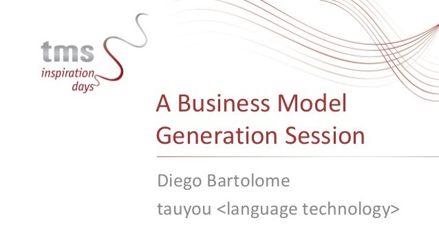 A Business ModelGeneration SessionDiego Bartolometauyou <language technology>