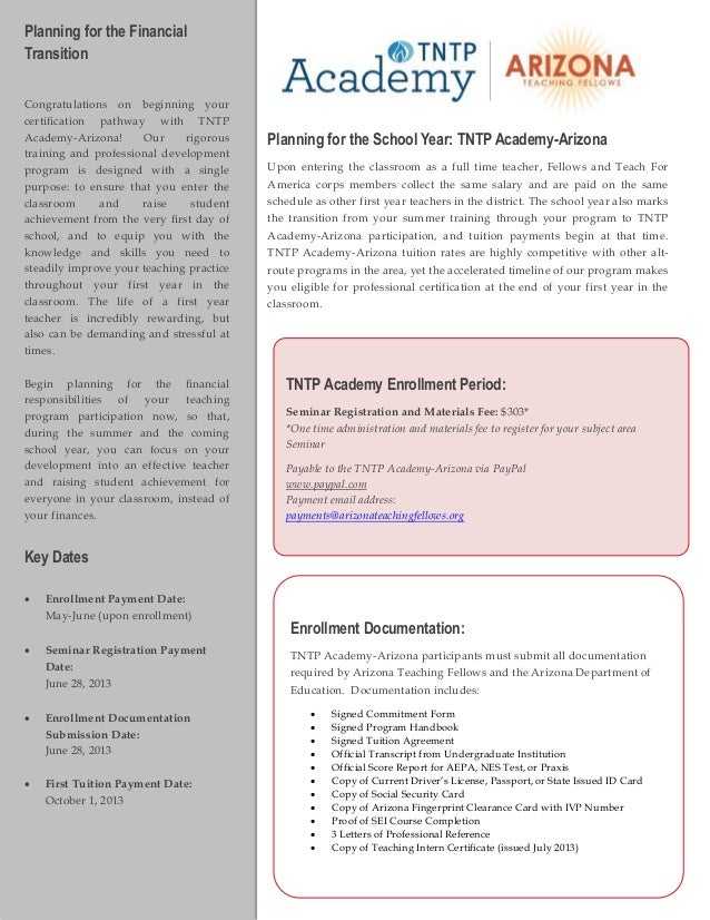 Planning for the FinancialTransitionCongratulations on beginning yourcertification pathway with TNTPAcademy-Arizona!     ...