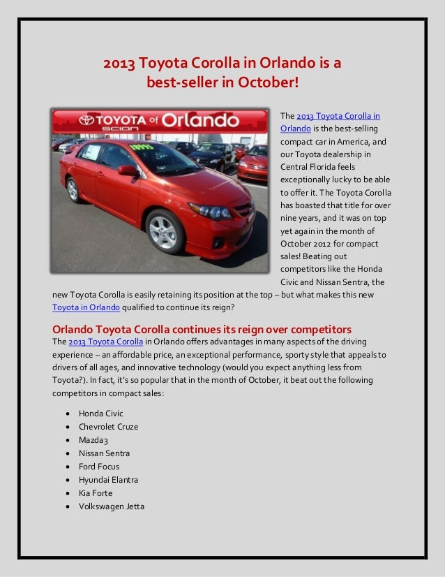 2013 Toyota Corolla in Orlando is a                    best-seller in October!                                            ...