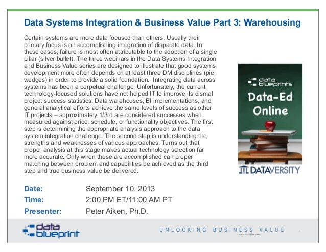 Copyright 2013 by Data Blueprint Data Systems Integration & Business Value Part 3: Warehousing Certain systems are more da...