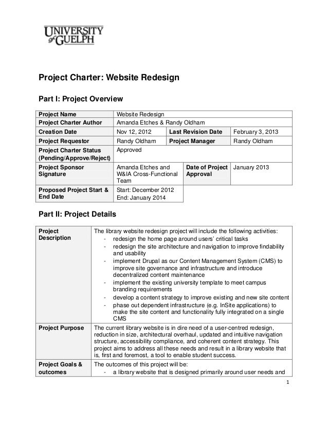 2013 website redesign project charter final for Software project charter template