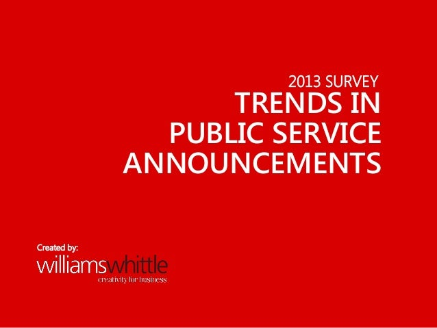 2013 SURVEY TRENDS IN PUBLIC SERVICE ANNOUNCEMENTS Created by: