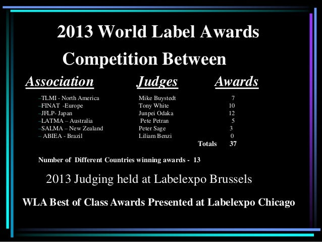 2013 World Label Awards –TLMI - North America Mike Buystedt 7 –FINAT -Europe Tony White 10 –JFLP- Japan Junpei Odaka 12 –L...