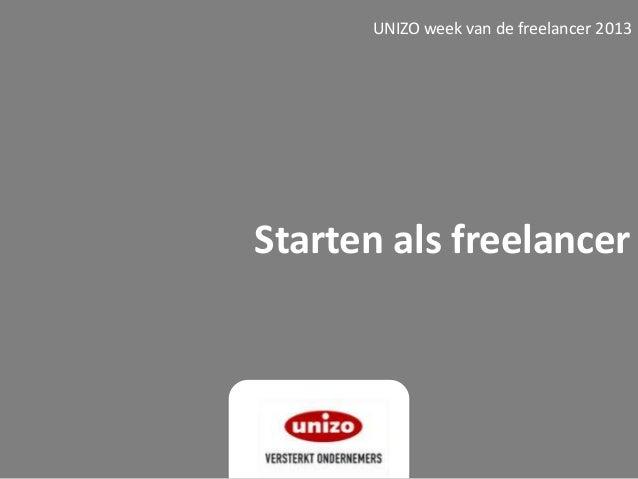 Starten als freelancerUNIZO week van de freelancer 2013