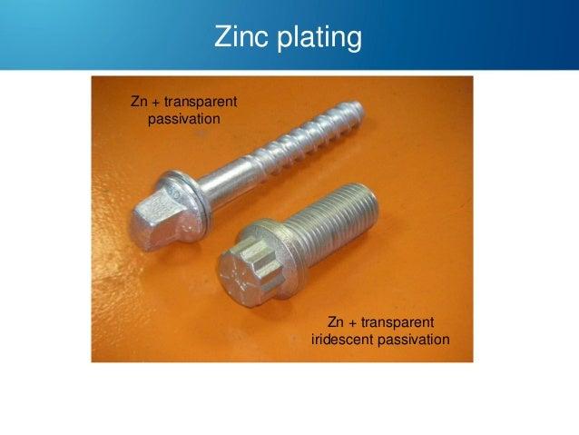 Zinc plating Zn + transparent passivation  Zn + transparent iridescent passivation