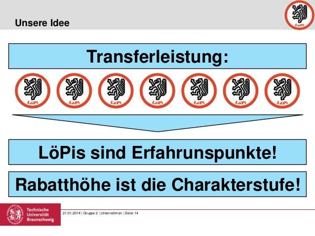 Unsere Idee  Transferleistung:  LöPis sind Erfahrunspunkte! Rabatthöhe ist die Charakterstufe! 21.01.2014 | Gruppe 2 | Unt...