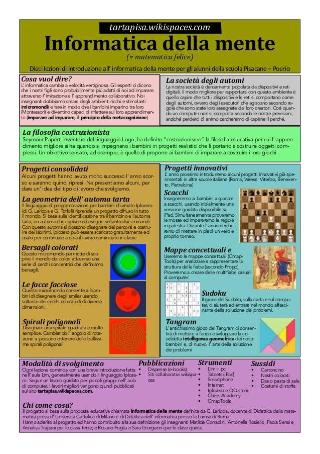 tartapisa.wikispaces.com  Informatica della mente (= matematica felice)  Dieci lezioni di introduzione all' informatica de...