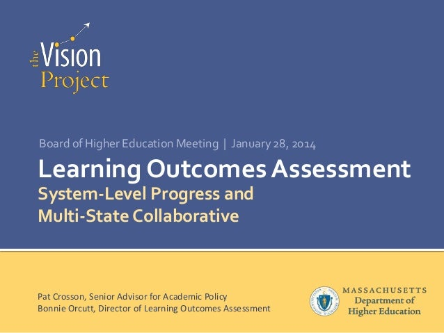 Board of Higher Education Meeting | January 28, 2014  Learning Outcomes Assessment System-Level Progress and Multi-State C...
