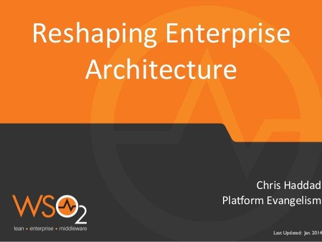 Reshaping  Enterprise   Architecture    Chris  Haddad   Pla$orm  Evangelism    Last Updated: Jan. 2014