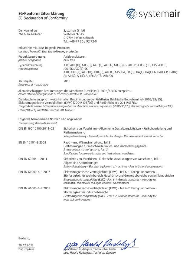 EG-Konformitätserklärung EC Declaration of Conformity Der Hersteller: Systemair GmbH The Manufacturer Seehöfer Str. 45 ...