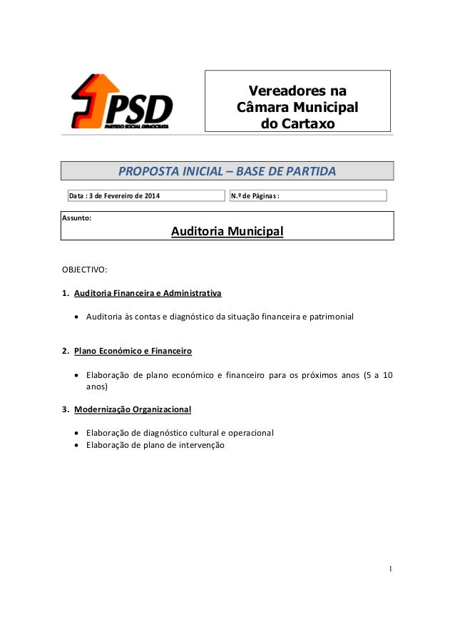 Vereadores na Câmara Municipal do Cartaxo PROPOSTA INICIAL – BASE DE PARTIDA Data : 3 de Fevereiro de 2014  N.º de Páginas...