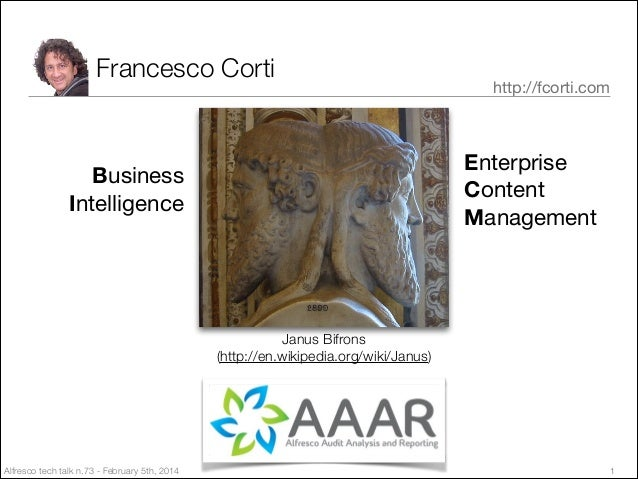 Francesco Corti  http://fcorti.com  Enterprise  Content  Management  Business Intelligence  Janus Bifrons (http://en.wikip...