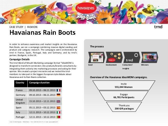 CASE STUDY | FASHION  In order to enhance awareness and market insights on the Havaianas Rain Boots, we ran a campaign com...