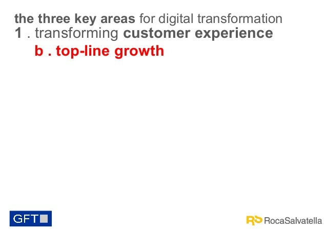 the three key areas for digital transformation  1 . transforming customer experience b . top-line growth
