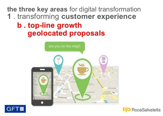 the three key areas for digital transformation  1 . transforming customer experience b . top-line growth geolocated propos...