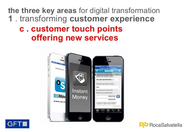 the three key areas for digital transformation  1 . transforming customer experience c . customer touch points offering ne...