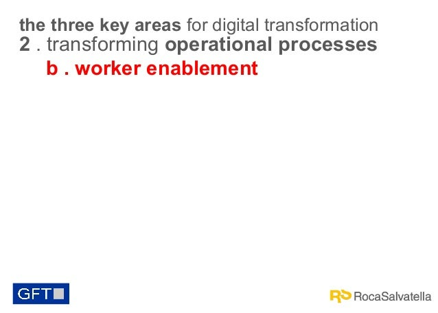 the three key areas for digital transformation  2 . transforming operational processes b . worker enablement
