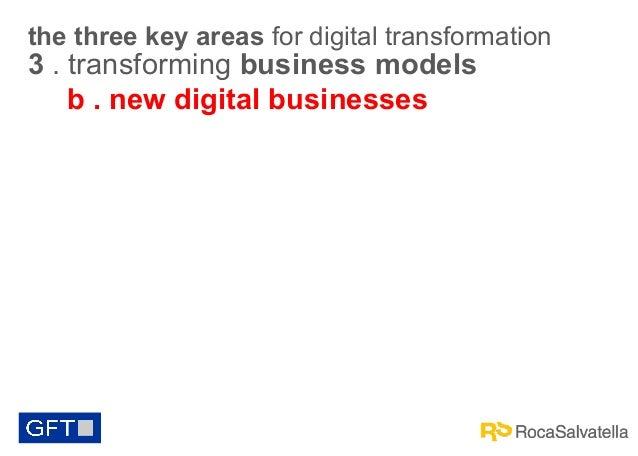 the three key areas for digital transformation  3 . transforming business models b . new digital businesses