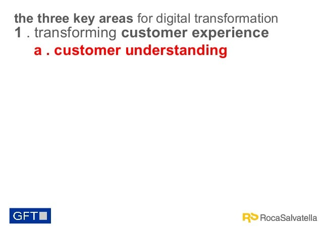 the three key areas for digital transformation  1 . transforming customer experience a . customer understanding