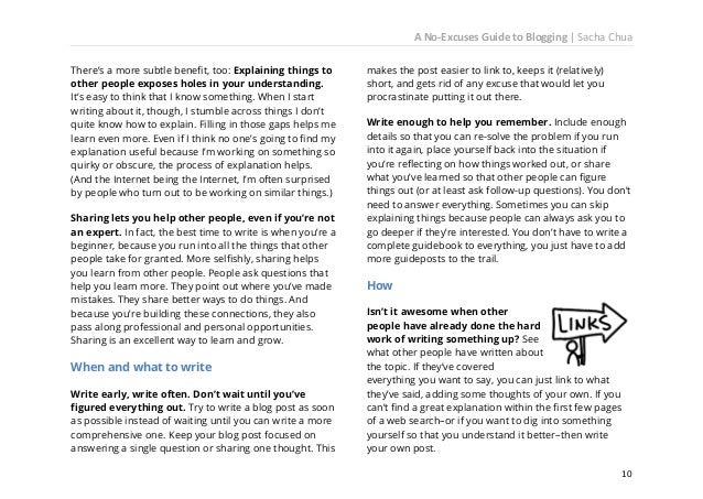 A No-Excuses Guide to Blogging   Sacha Chua  Find tons of topics  example: How can I do this better? What is the meaning o...