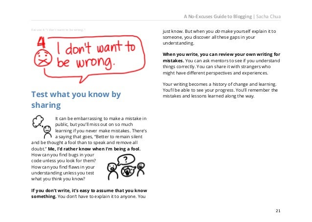 A No-Excuses Guide to Blogging   Sacha Chua It's okay to tell one story twenty times in order to learn how it's told. Expe...