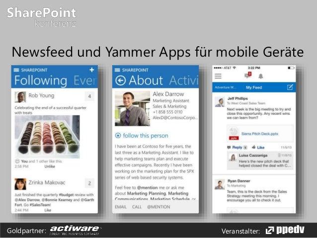 Veranstalter:Goldpartner: Newsfeed und Yammer Apps für mobile Geräte