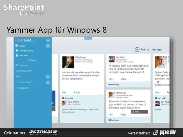 Veranstalter:Goldpartner: Yammer App für Windows 8