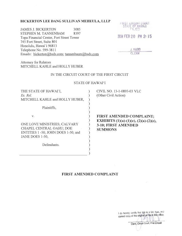 2014 02-20 filed 1st amd complaint wo exh