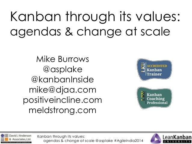 Kanban through its values: agendas & change at scale Mike Burrows @asplake @kanbanInside mike@djaa.com positiveincline.com...