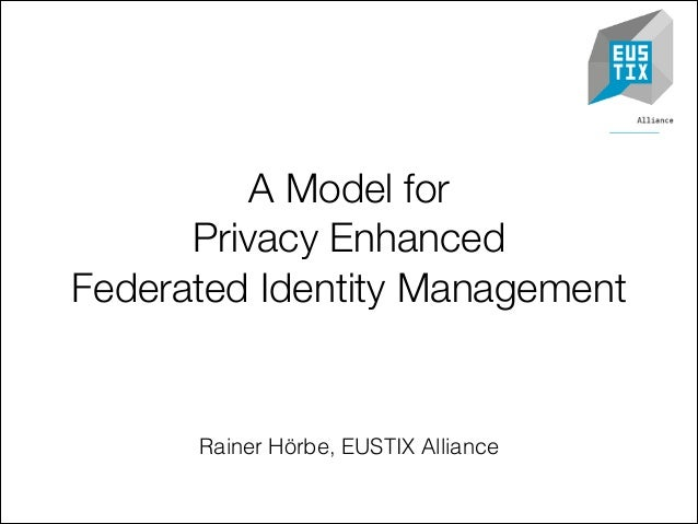 A Model for Privacy Enhanced Federated Identity Management  Rainer Hörbe, EUSTIX Alliance