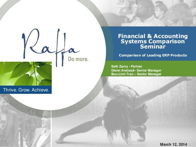 Thrive. Grow. Achieve. Financial & Accounting Systems Comparison Seminar Comparison of Leading ERP Products Seth Zarny - P...